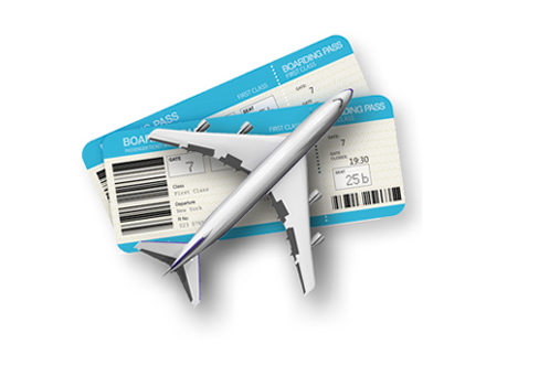 illustration of airplane and tickets